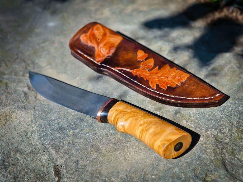 Damascus handmade author's custom knife Wild Boar